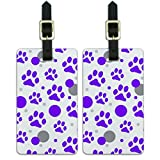 Graphics & More Luggage Suitcase Carry-on Id Tags-Paw Print Cat Dog-Purple, White