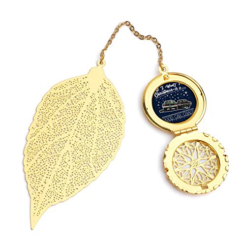 All I Want for Christmas is A Good Car Chase Vintage and Beautiful Leaf Bookmarks, Metal Leaf and Exquisite Pattern Pendants
