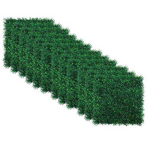 """12pcs Boxwood Panels - 20""""x20"""" Artificial Faux Hedge Plant for 33 SQ Feet Per Boxwood Hedge Set - Use for UV Protection Indoor Outdoor, Fence Privacy Screen, Grass Wall, Greenery Backdrop, Dark Green"""