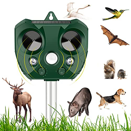 60s Solar Deer Repellent Device Outdoor,Ultrasonic Animal Repeller,Bird Deterrent Devices with Motion Activated Detector Flashing Ligh,for Squirrel,Cat,Dog,Mole,Rabbit,Racoon,Rat,Snake etc.