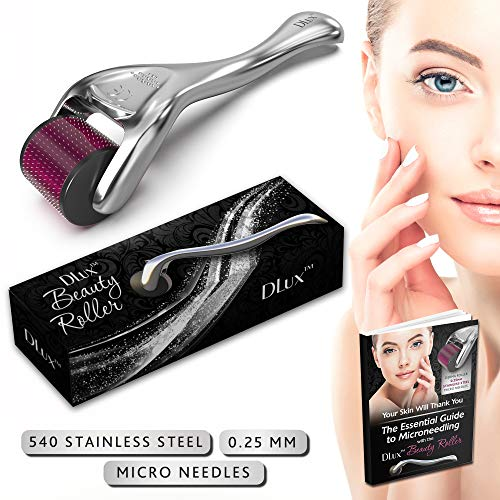 Microneedle Derma Roller with Protective Kit and Ebook :: New 2019 Model :: Stainless Steel 0.25mm Microneedles :: 540 Exfoliating Needles :: Micro Roller for Face ::'Deep Purple' Beauty Roller