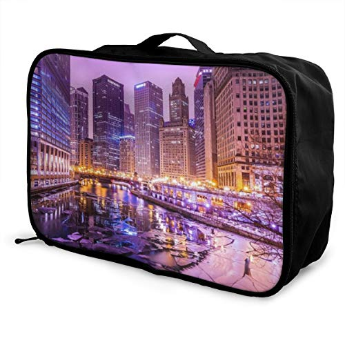Travel Fashion Lightweight Large Capacity Duffel Portable Waterproof Foldable Storage Carry Luggage Tote Bag - USA Chicago Skyline Night View