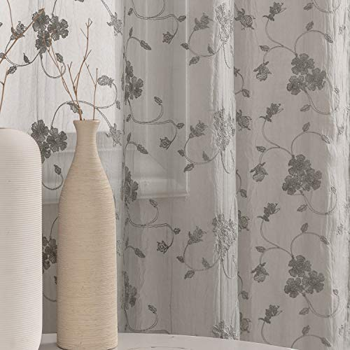 Sheer Curtains for Bedroom Flower Embroidery Voile Living Room Country Curtains Rustic Vintage Floral Embroidered Window Treatment Set Rod Pocket Pole Top 40 inch Wide 63 inch Long 2 Panels Taupe