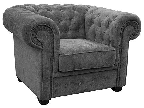 Conjunto de sofás de dos y tres plazas estilo Chesterfield en tejido gris, algodón, Gris, Armchair