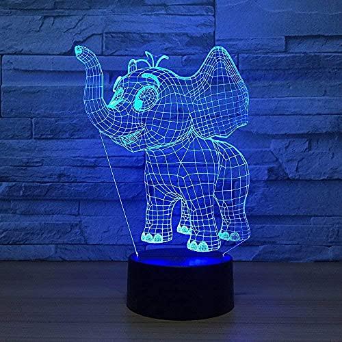 Lámpara de escritorio inteligente con diseño de elefante en 3D, 7 colores cambiantes, con cable USB, para decoración del hogar, como regalo de cumpleaños
