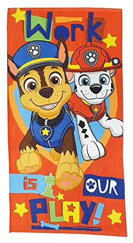 Nickelodeon Paw Patrol handdoeken strandlakens badhanddoeken voor kinderen met motieven van de honden Skye, Marshall, Chase en Puin 70x140 cm  (Chase en Marshall, rood )