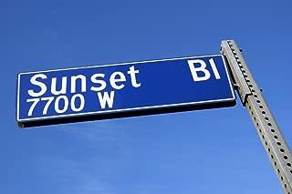 Sunset Boulevard Sign Against Blue Sky Hollywood California Photo Photograph Cubicle Locker Mini Art Poster 12x8