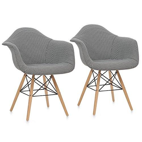 OneConcept Visconti - Schalenstuhl, Retrostuhl, Esszimmerstuhl, 70er-Jahre-Look, Retro-Design, 2er Stuhl-Set, breite, Bequeme Sitzfläche, gepolsterte PP-Schale, Sitzhöhe von 43 cm, schwarz