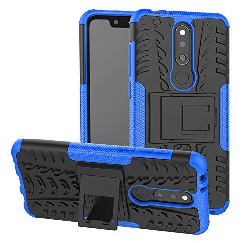 LFDZ Nokia 5.1 Plus 2018 Tasche, Hülle Abdeckung Cover schutzhülle Tough Strong Rugged Shock Proof Heavy Duty Hülle Für Nokia 5.1 Plus 2018 / Nokia X5 Smartphone (mit 4in1 Geschenk verpackt),Blau