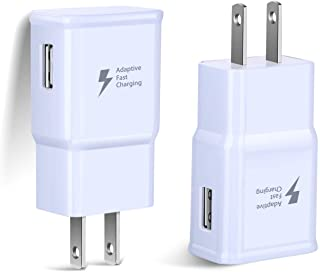 Adaptive Fast Charging Wall Charger, Qihop 2-Pack Fast Charger Adapter Phone Charger Block Compatible Samsung Galaxy S10 S9 S8 S7 S6 Note 8 9,LG G5 G6 V20 V30, HTC and More