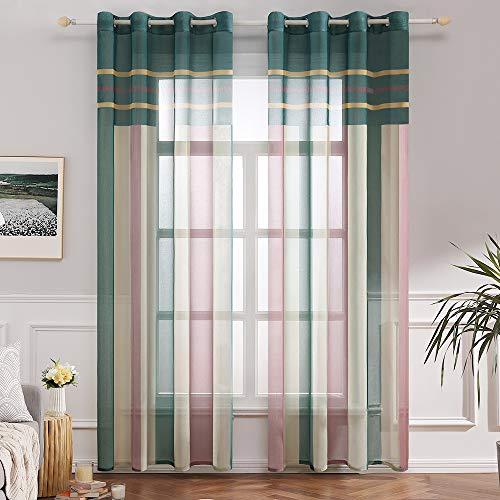 MIULEE Voile Vorhang Transparente Gardine aus Voile mit Ösen Schlaufenschal Ösenschals Transparent Fensterschal Wohnzimmer Schlafzimmer 2er Set 140x225 cm Grün + Rosa