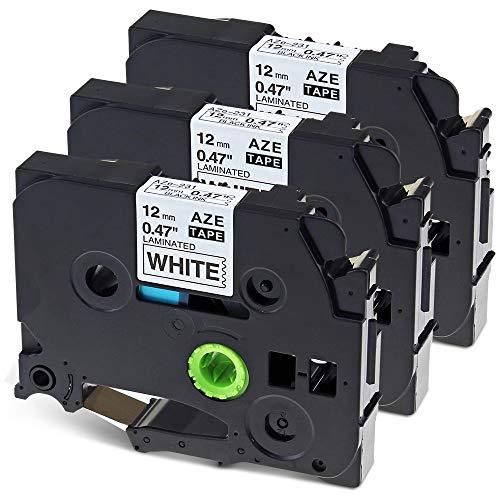 Nastro per Etichette Wonfoucs Compatibile In sostituzione di Brother P-Touch TZe-231 TZe231 12mm 0.47 Nero su Bianco per Brother H100LB H107B H110 H100R H105 H101C 1000 D210 D400, confezione da 3