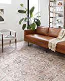 Loloi ll Skye Collection Printed Distressed Vintage Area Rug, 9'-0' x 12'-0', PinkGray