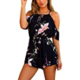 Kstare Women Sexy Halter Playsuit Bodycon Party Bodysuit Ladies Jumpsuit Romper Mini Trousers Clubwear (Dark Blue2, X-Large) by