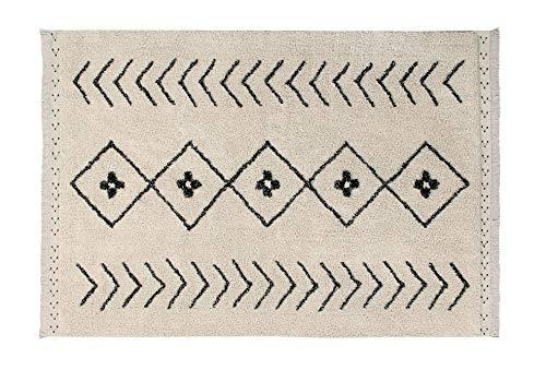 Lorena Canals Alfombra Lavable Bereber Rhombs Algodón Natural - Beige , Negro - 210x140 cm