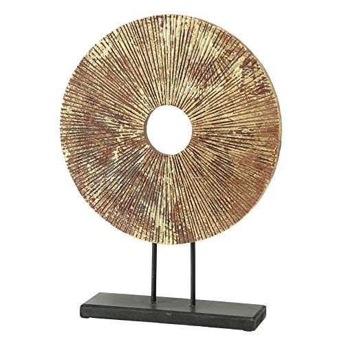 WHW Whole House Worlds Modernist Ring Circle Sculpture, Contemporary Art, Antique Brown, Distressed Gold Gilt Finish, Black Gallery Base, MDF Wood, 11.5 L x 3.25 W x 15.75 H inches