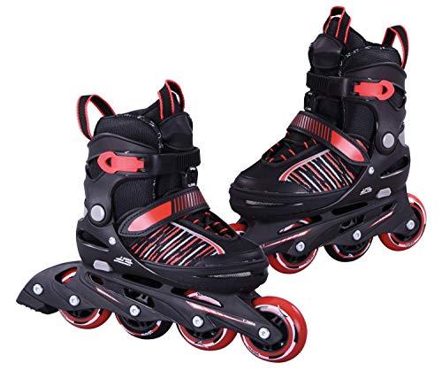 L.A. Sports Inliner Skate Soft Kinder Jugend Damen Größenverstellung 5 Größen verstellbar (37-41, Rot)