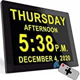 Digital Clock with 16 Alarms & Remote Control, 8' Large AM/PM, Bedroom Wall Day Date Clock for Elderly Seniors Dementia Alzheimer's Gifts