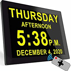 Digital Clock with 16 Alarms & Remote Control, 8 Large AM/PM, Bedroom Wall Day Date Clock for Elderly Seniors Dementia Alzheimer's Gifts