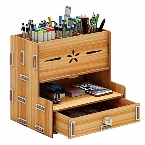 OverTop Multifunción De Madera Con Cajón De Almacenamiento Caja De Escritorio Organizador De Oficina - Marrón
