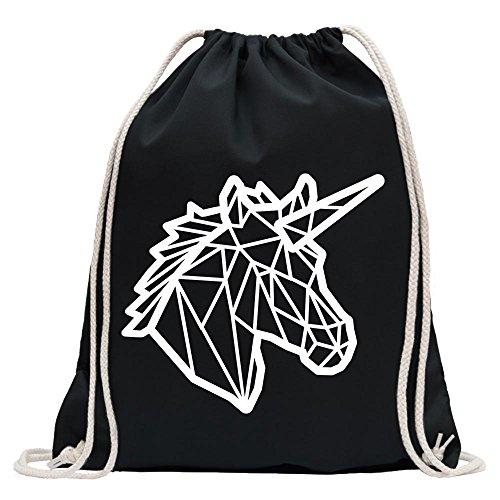 Kiwistar - Divertida mochila deportiva con cabeza de unicornio para el fitness Gymbag para la compra de algodón con cordón, Unisex adulto, Negro , 37 x 46cm