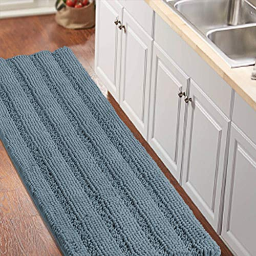 Turquoize Large Size 59' by 20' Luxurious Shaggy Chenille Bath Mat Non-Slip Soft Microfibers Runners for Bathroom Water Absorbent Machine-Washable Shag Bath Mat,Stone Blue