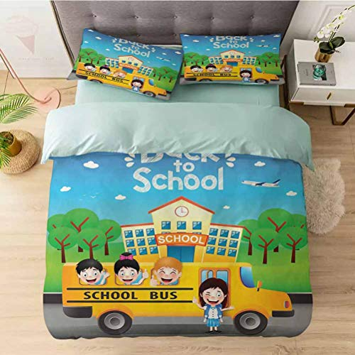 YUAZHOQI Washed Duvet Cover Set, Happy Students Riding School Bus Going Back to School, Ultra Soft Hypoallergenic Comforter Cover Sets 3 Pieces (1 Duvet Cover + 2 Pillow Shams)
