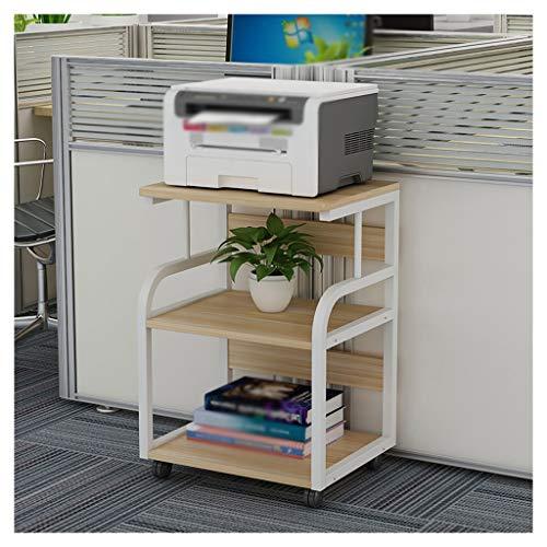 Soporte para Impresora Estante de fax de fax móvil resistente de la impresora de pie de 3 capas, utilizado en el soporte del escáner de la copiadora de la sala de estar de la oficina (con el rodillo)