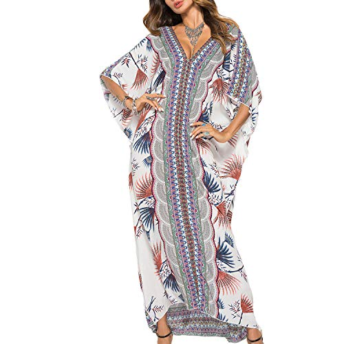 Lu's Chic Women's Caftan Cover Ups Beach Kimono Coverups Maxi V Neck Kaftan Swimsuit Cover Ups White One Size