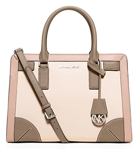 """Ecru /Ballet / Dark Taupe saffiano leather. Top Zip Closure. Exterior includes gleaming gold tone hardware and logo. Interior includes 1 center zip compartment, 3 open pockets, 1 zip pocket, 1 cell phone pocket and 1 key fob. Double handles with 4.5""""..."""