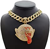 Hip Hop Large Mario Ghost Pendant & 18' Iced Miami Cuban Choker Chain Necklace