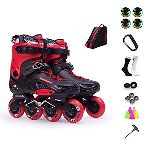 mfwwewe Inline Skates Adult Professional Single Row Skating Shoes Fancy Inline Skates Beginner Roller Skates Color RED B Size EU 36US 45UK 35JP 23CM