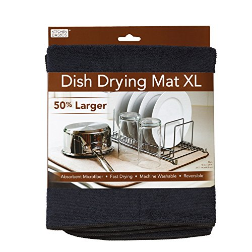 Kitchen Basics 554301 Dish Drying Mat, XL, Black
