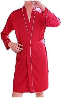 qianqianq Mens Pajamas Charmeuse Plus Size Solid Basic Style V Neck Bathrobes