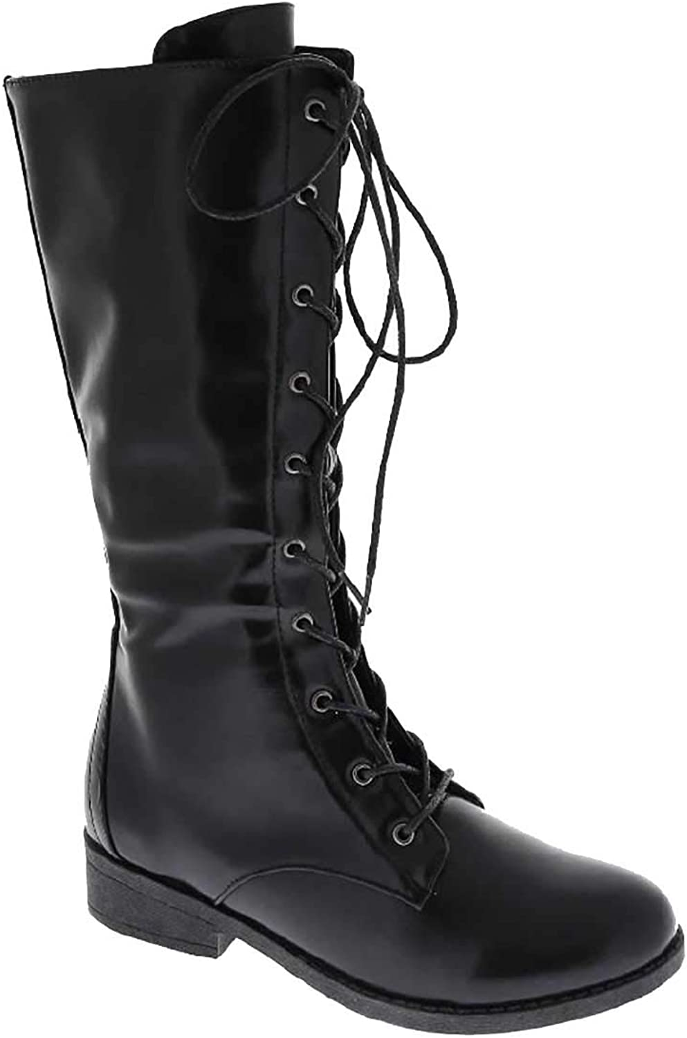 Fourever Funky Lace up Military Style Combat Boots Women's Boots Vegan Leather Below The Knee Black