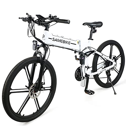 SAMEBIKE LO26-II Versione di Aggiornamento Biciclette Elettriche 500W 48V 10AH 26 Pollici Mountain Bike Elettriche Pieghevoli con Display LCD a Colori per Adulti (Bianco)
