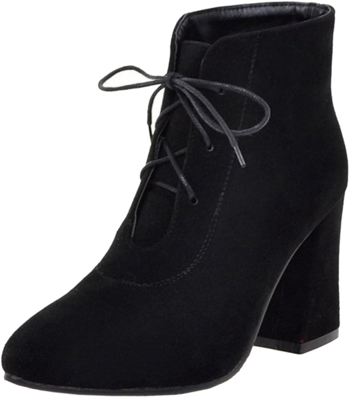 CarziCuzin Women Fashion Lace Up Autumn-Winter Block High Heel shoes