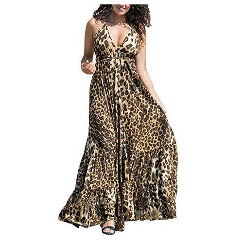 Hailmkont Damen Kleider Elegant Sling Maxikleid Tiefem V-Ausschnitt Leopard Lang Kleid Schwingendes Plissee Ärmellos Vintage Kleid Printed Abendkleid