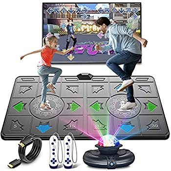 FWFX Dance Mat for Kids and Adults Musical Electronic Dance Mats with HD Camera Double User Wireless Dancing Mat Exercise & Fitness Dance Step Pad Game for TV Toys Gift for Girls & Boys Ages 6+