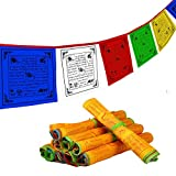 JALIFASO Tibetan Prayer Flag - Outdoor Buddhist Flag Satin Wind Horse Lungta Prayer Flags Yoga Medium Traditional Design (35cm*25cm) - Roll of 40 Flags - Handmade in Nepal Buddhist Flags 5 Element Colors