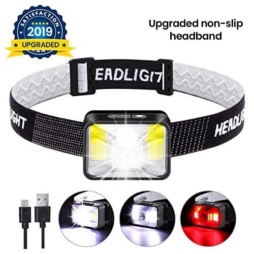 OUTERDO Stirnlampe LED, Kopflampe Wiederaufladbar USB, Kopfleuchte Warnen-Rotlicht,mini Stirnlampe IPX5 Wasserdichte für Arbeiten Camping Laufen Wandern Angeln und Lesen