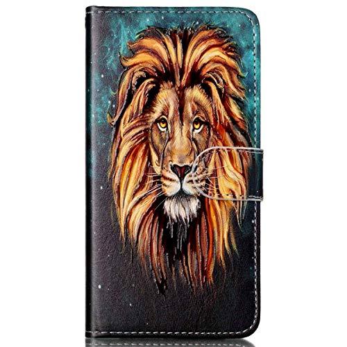 kompatibel mit LG G6 Hülle,LG G6 Schutzhülle,LG G6 Leder Tasche,Surakey Lederhülle LG G6 PU Leder Flip Case Brieftasche Hülle Wallet Tasche Case für LG G6,Lion