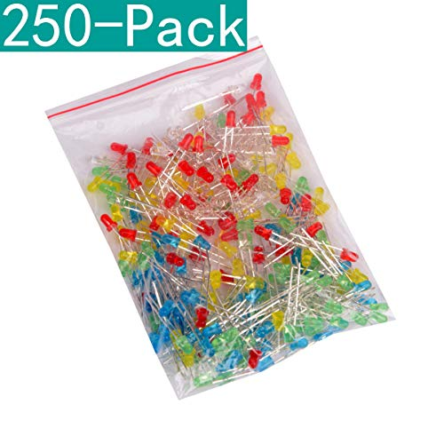 Youmile 250-Pack (5 Farben x 50-Pack) 3mm LED-Leuchtdiodenlampe diffus sortiert Kit (Weiß Rot Grün Blau Gelb)