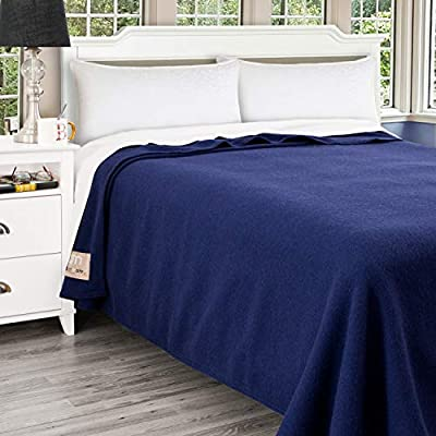 Poyet Motte Antibes 350GSM 100-Percent Wool Medium Weight Oversized Blanket, Machine Washable (Navy Blue, Full/Queen Size)
