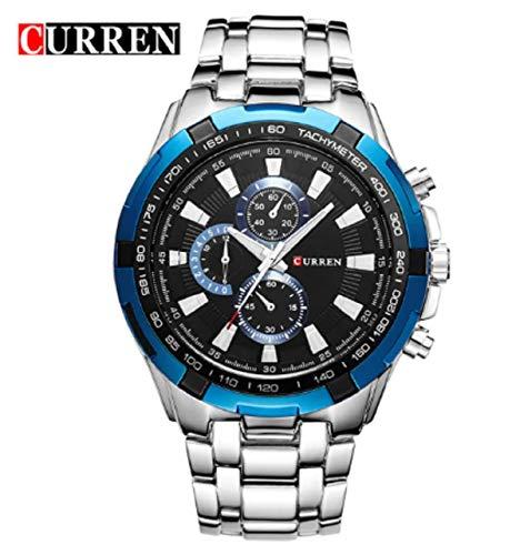 Relógio Masculino Original Inox Prova D Água Curren Azul Mod.8023