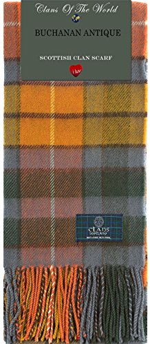 I Luv Ltd Buchanan Antique Tartan Clan Scarf 100% Soft Lambswool