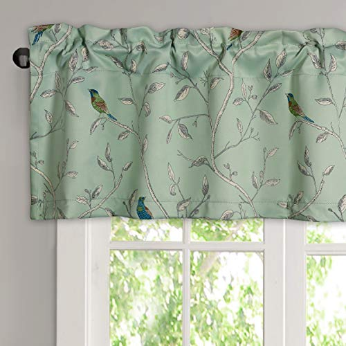 """Blackout Kitchen Bath Laundry Bedroom Living Room with Rod Pocket Top Window Curtain Valances - Sage Green with Turquoise Birds - 58"""" W x 15"""" L (1 Piece)"""