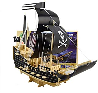 Wood Craft Construction Kit 3D Wooden Modeling for kids (Pirate Boat)