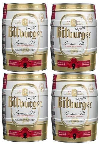 4 Partydosen Bitburger Pils a 5,0 Liter Bier