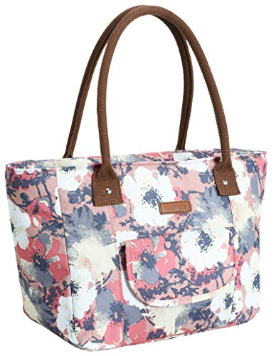 MIER Adult Thermal Tote Lunch Purse Bag Insulated Leakproof Cooler Tote for Work School Office Outdoor Picnic Travel Beach Grocery Shopping Anemone